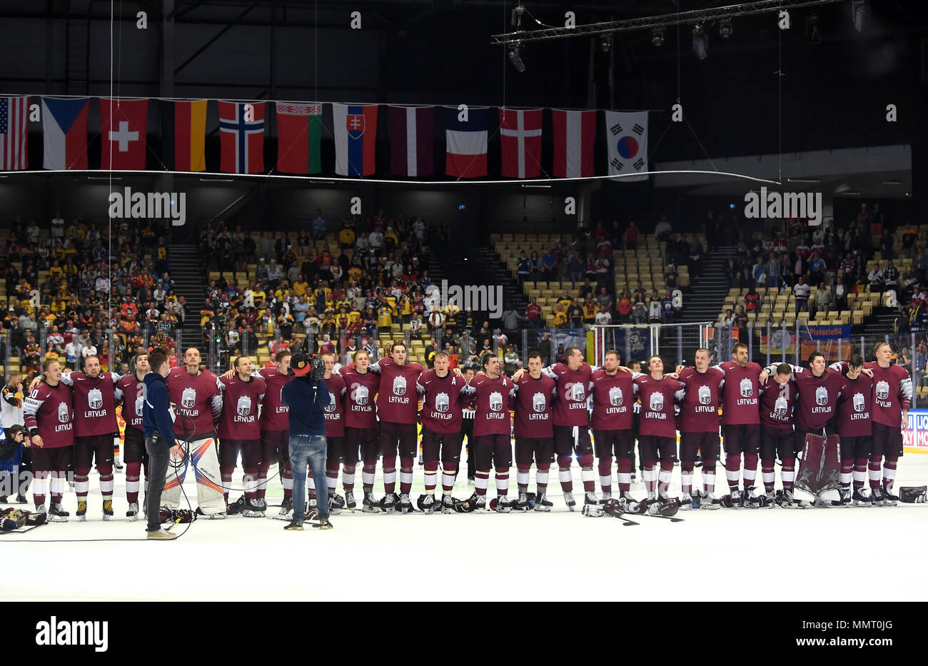Herning, Denmark.. 12th May, 2018. Players of Team Latvia after the match between Latvia and Germany on 05/12/2018 in Herning, Denmark. (Photo by Marco Leipold/City-Press GbR) | usage worldwide Credit: dpa picture alliance/Alamy Live News Stock Photo