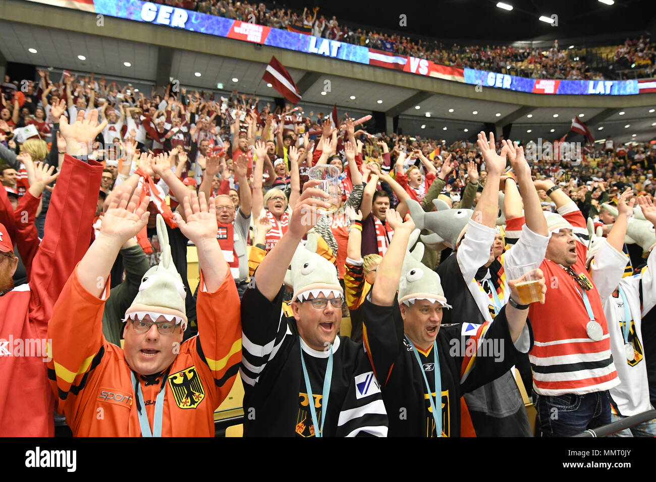 Herning, Denmark.. 12th May, 2018. Fans cheer during the match between Latvia and Germany on 12.05.2018 in Herning, Denmark. (Photo by Marco Leipold/City-Press GbR) | usage worldwide Credit: dpa picture alliance/Alamy Live News Stock Photo