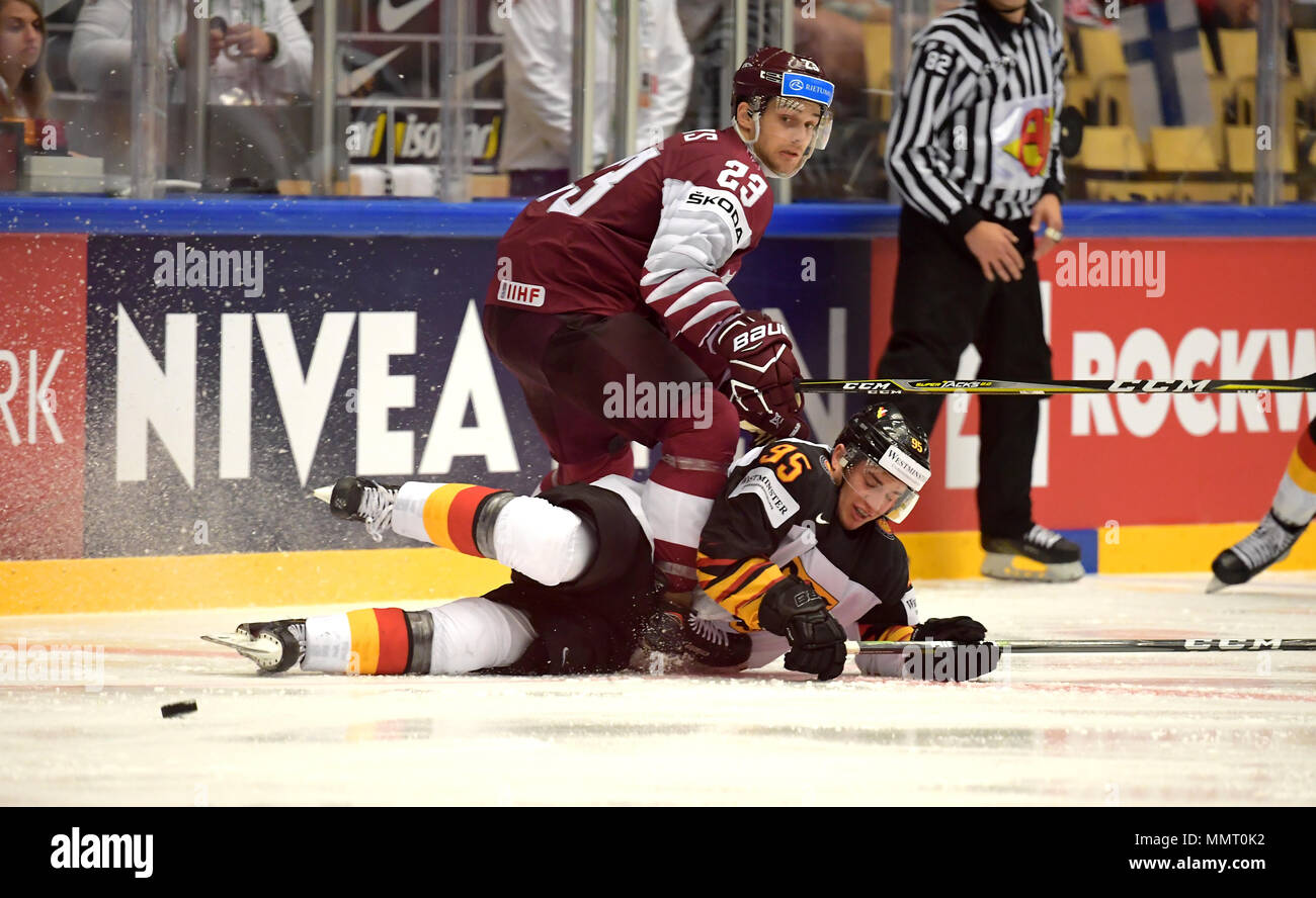 Herning, Denmark.. 12th May, 2018. Teodors Blugers of Team Latvia and Frederik Tiffels of Team Germany during the match between Latvia and Germany on May 12, 1818 in Herning, Denmark. (Photo by Marco Leipold/City-Press GbR) | usage worldwide Credit: dpa picture alliance/Alamy Live News Stock Photo