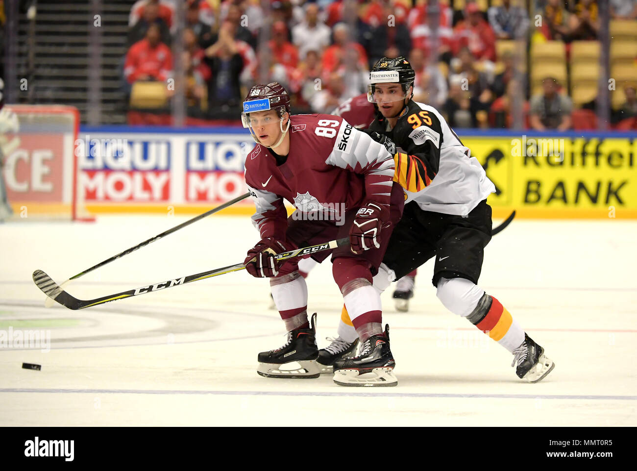 Herning, Denmark.. 12th May, 2018. Nikita Jevpalovs of Team Latvia and Frederik Tiffels of Team Germany during the match between Latvia and Germany on May 12, 1818 in Herning, Denmark. (Photo by Marco Leipold/City-Press GbR) | usage worldwide Credit: dpa picture alliance/Alamy Live News Stock Photo