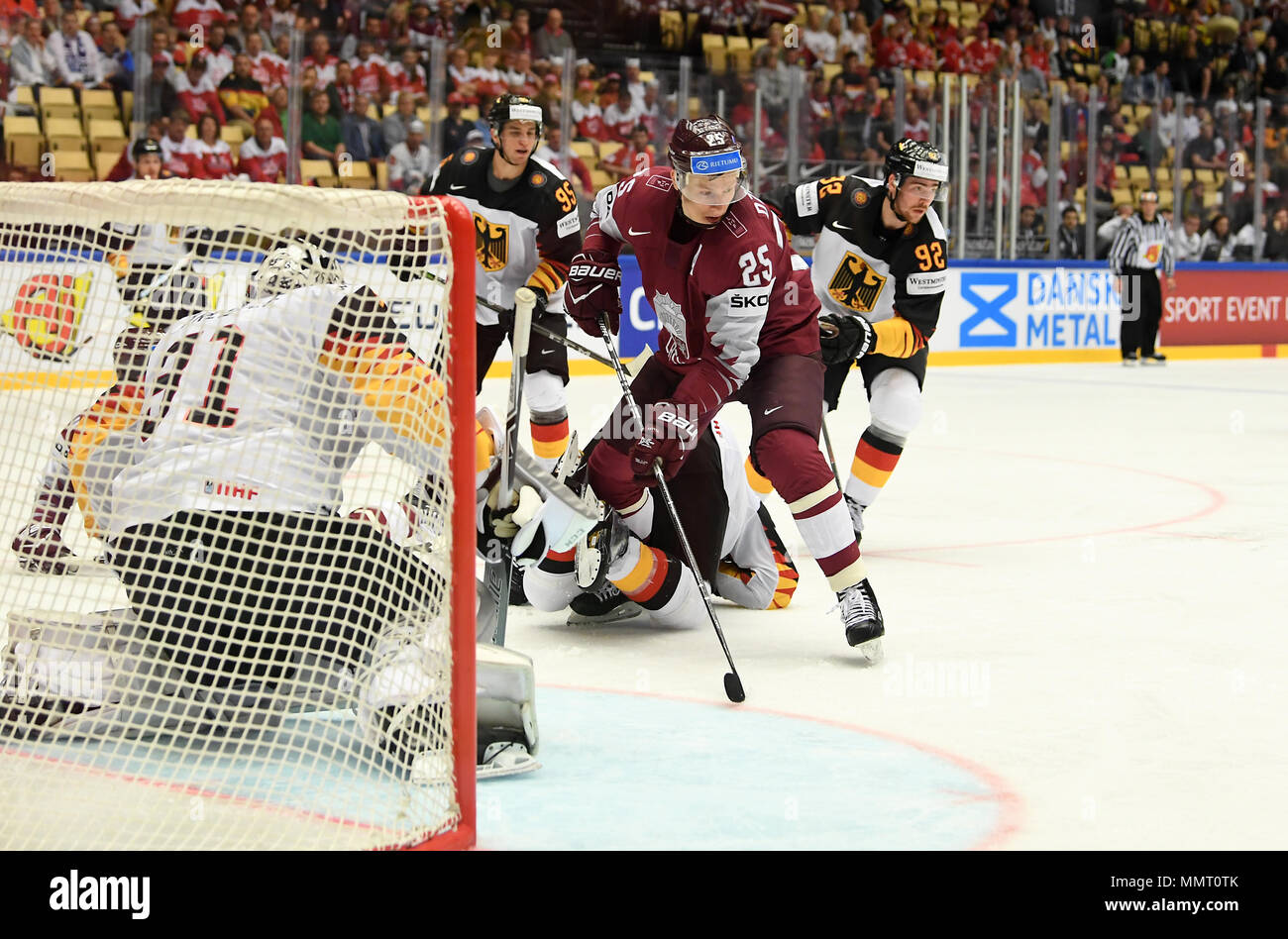 Herning, Denmark.. 12th May, 2018. (LR) Niklas Treutle, Frederik Tiffels of Team Germany, Andris Dzerins of Team Latvia and Marcel Noebels of Team Germany during the match between Latvia and Germany on 12.05.2018 in Herning, Denmark. (Photo by Marco Leipold/City-Press GbR) | usage worldwide Credit: dpa picture alliance/Alamy Live News Stock Photo