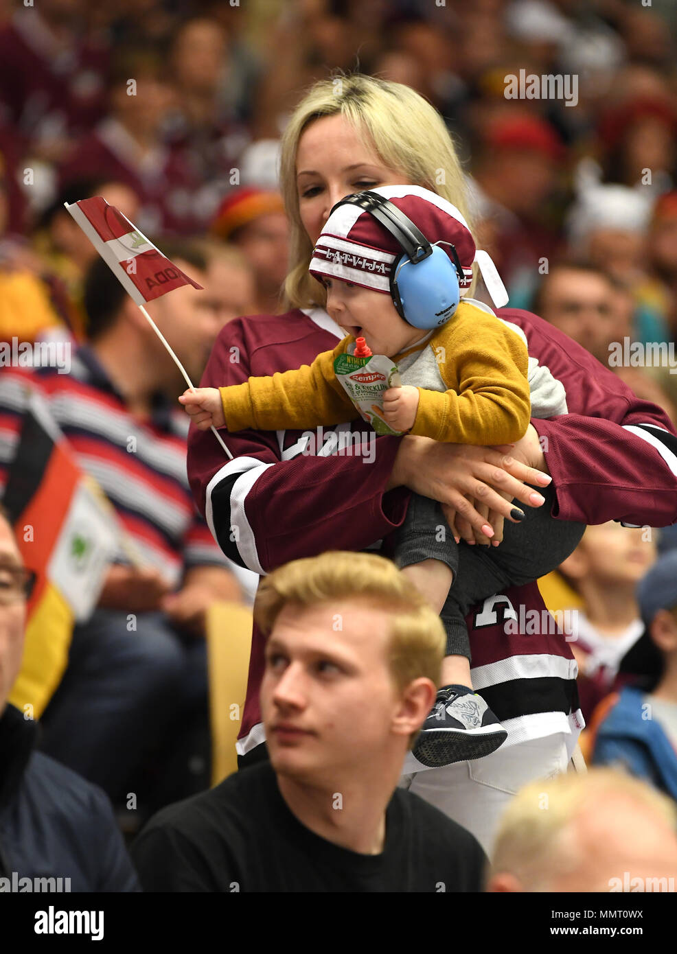 Herning, Denmark.. 12th May, 2018. Fans of Team Latvia during the match between Latvia and Germany on 12.05.2018 in Herning, Denmark. (Photo by Marco Leipold/City-Press GbR) | usage worldwide Credit: dpa picture alliance/Alamy Live News Stock Photo