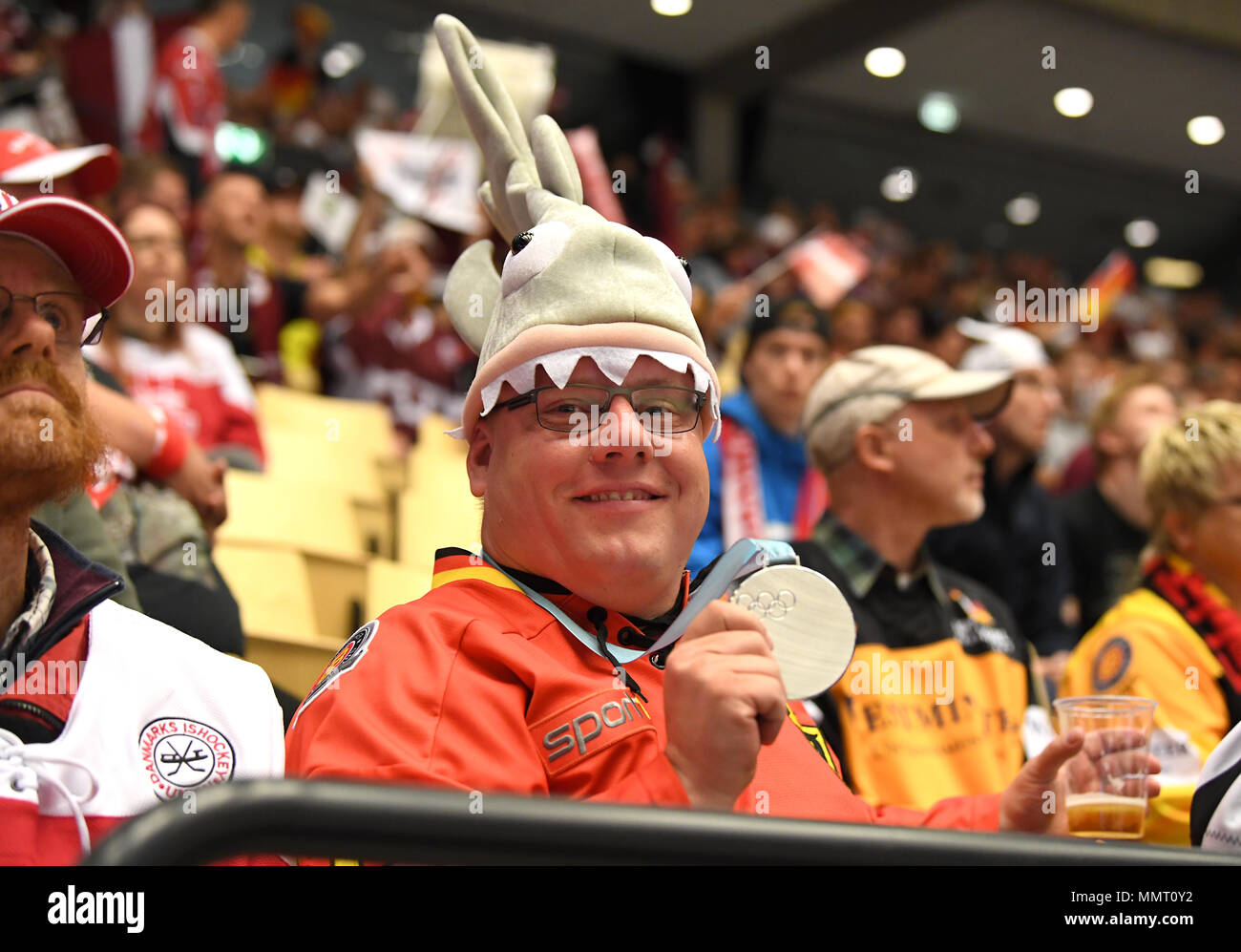 Herning, Denmark.. 12th May, 2018. Fan of Team Germany during the match between Latvia and Germany on 12.05.2018 in Herning, Denmark. (Photo by Marco Leipold/City-Press GbR) | usage worldwide Credit: dpa picture alliance/Alamy Live News Stock Photo