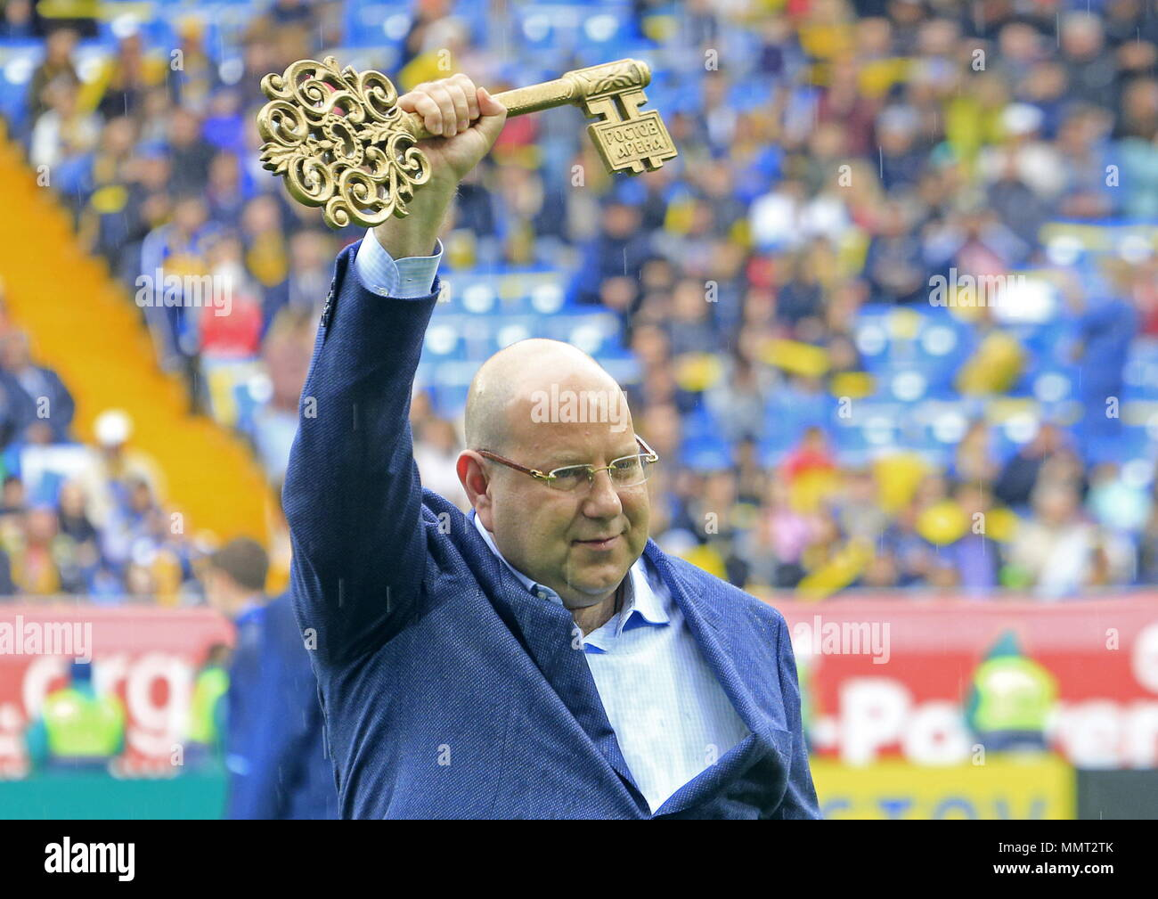 Rostov On Don, Russia. 13th May, 2018. ROSTOV-ON-DON, RUSSIA - MAY 13, 2018: FC Rostov President Artashes Arutyunyants holds the symbolic key at a ceremony to open Rostov Arena Stadium ahead of a 2017/2018 Russian Football Premier League Round 30 match between FC Rostov and FC Ural, the third trial for the venue to host ahead of the 2018 FIFA World Cup. Valery Matytsin/TASS Credit: ITAR-TASS News Agency/Alamy Live News Stock Photo