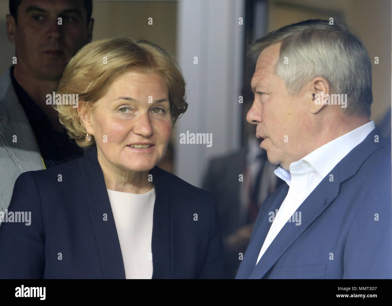 Rostov On Don, Russia. 13th May, 2018. ROSTOV-ON-DON, RUSSIA - MAY 13, 2018: Russia's acting Deputy Prime Minister Olga Golodets (L) and Rostov-on-Don Region Governor Vasily Golubev attend a ceremony to open Rostov Arena Stadium ahead of a 2017/2018 Russian Football Premier League Round 30 match between FC Rostov and FC Ural, the third trial for the venue to host ahead of the 2018 FIFA World Cup. Valery Matytsin/TASS Credit: ITAR-TASS News Agency/Alamy Live News Stock Photo