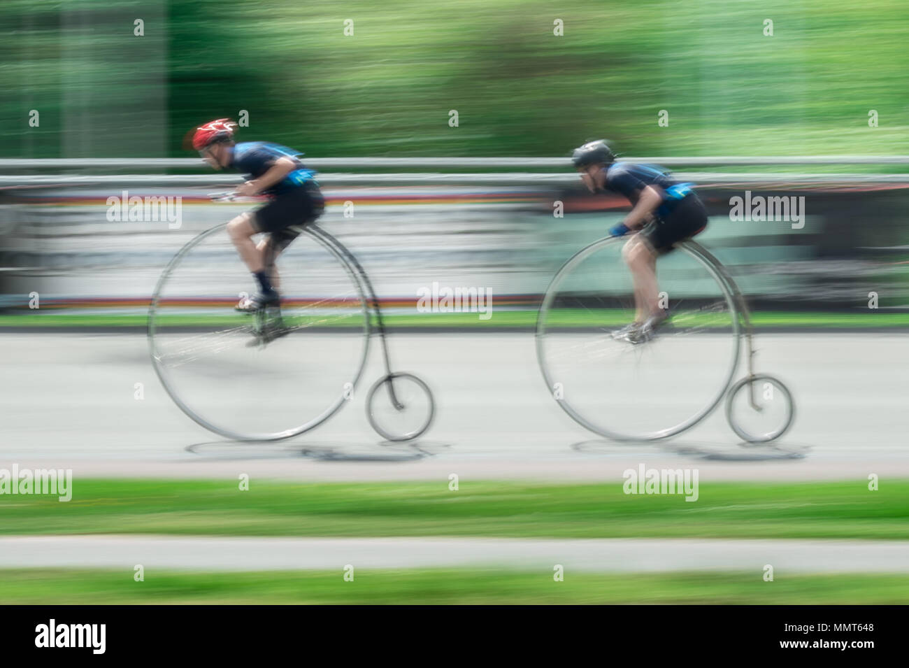 London, UK. 13th May, 2018. Members of the Penny Farthing cycling club perform track racing at Herne Hill velodrome. Credit: Guy Corbishley/Alamy Live News Stock Photo