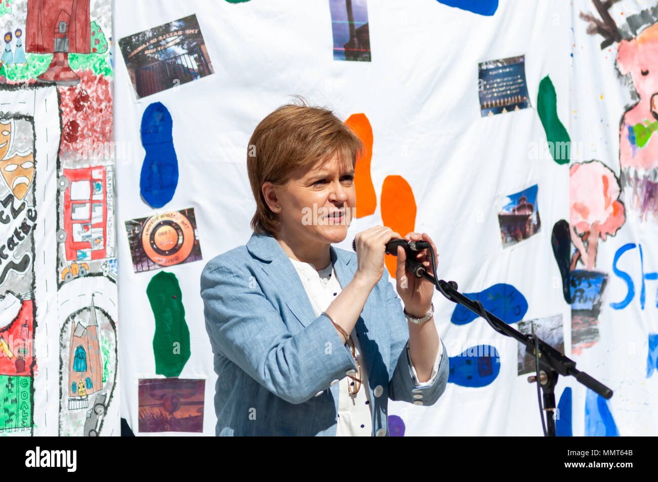 Glasgow, Scotland, UK. 13th May, 2018.  First Minister of Scotland Nicola Sturgeon giving a speech at Langside 450 which is part of the Southside Fringe and is held at The Arena in Queens Park which marks 450 years since the Battle of Langside. Credit: Skully/Alamy Live News - Stock Image