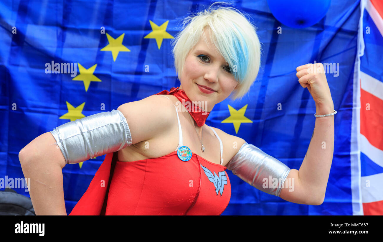 Westminster, London, 13th May 2018. 'EU Supergirl', Madeleina Kay, singer and winner of the Young European of the Year Award 2018, at the event. People assemble outside Europe House, the representational base of the European Parliament in London, for a  rally organised by 'Women against Brexit'. Credit: Imageplotter News and Sports/Alamy Live News - Stock Image