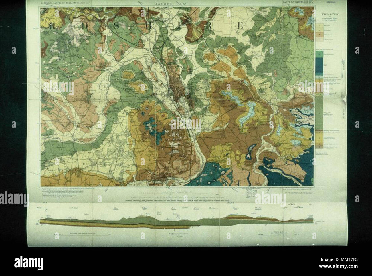 . Scale 1: 63,360. Composite of four sheets centred on Oxford  [Geological Survey of England and Wales: Oxford]. 1908. Bodleian Libraries, Geological Survey of England and Wales- Oxford - Stock Image