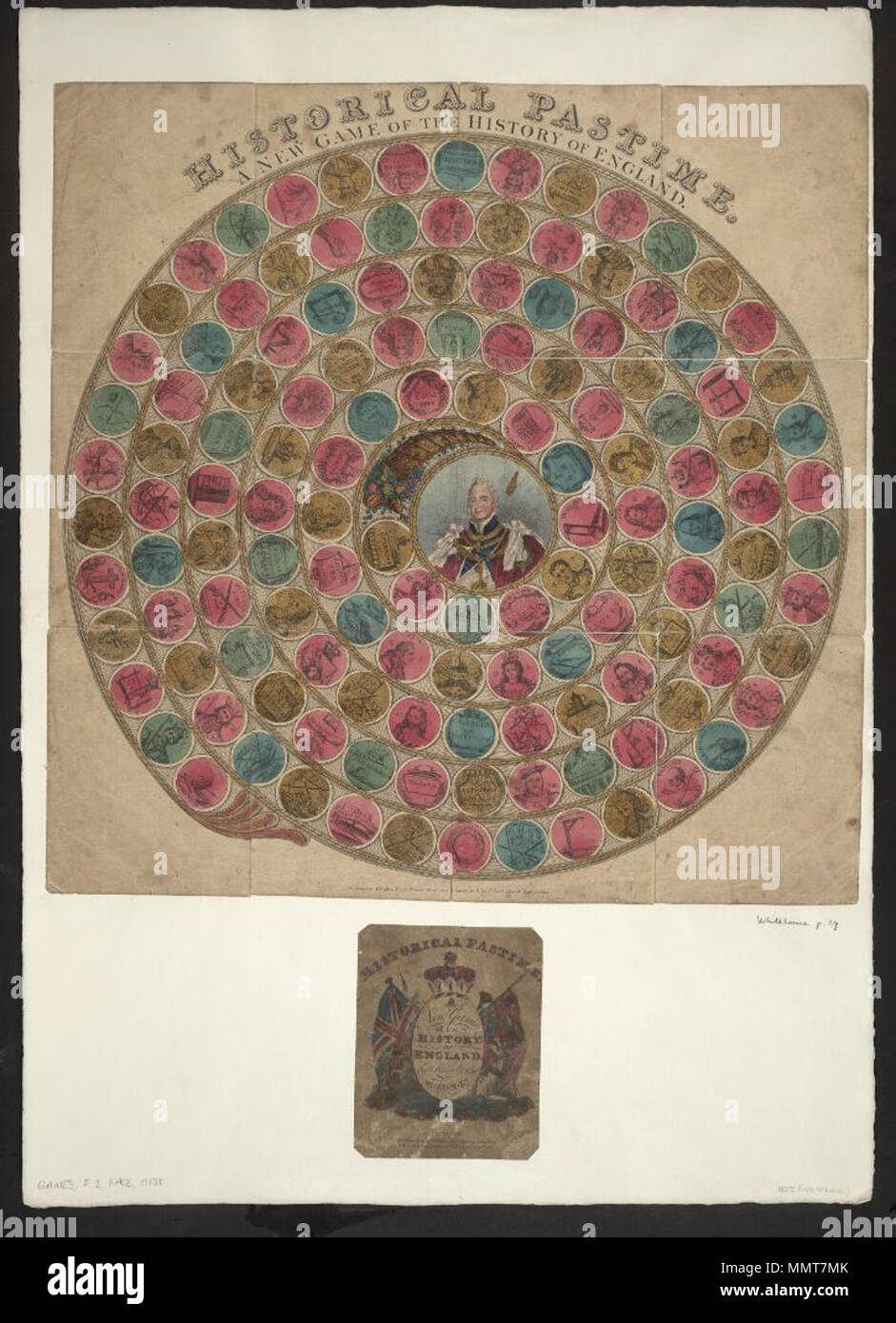 . Game entitled Historical pastime. A new game of the history of England from William 1st to William 4th; has 134 circles. First 20 transcribed as examples; New game of the history of England from William 1st to William 4th; Hastings (1); 1066 W I (2); Doomsday book (3); New Forest (4); Holy Lane (5); 1087 W II (6); Robert D. of Normandy (7); Death of W II (8); 1100 Henry I (9); 1135 K. S. (11); War (12); Matilda (13); 1154 H II (14); Alexander (15); BBeckett [sic] (16); 1189 R I (17); Massacre of the Jews (18); 1199 K J. (19); Prince Arthur (20); Interdict (21); Historical pastime. A new game - Stock Image