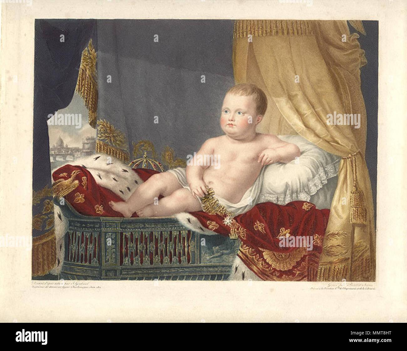 ". [""Napoleon II.""], 1812 (with Rome in the background)  . 1812. J L Benoist Napoleon II Stock Photo"