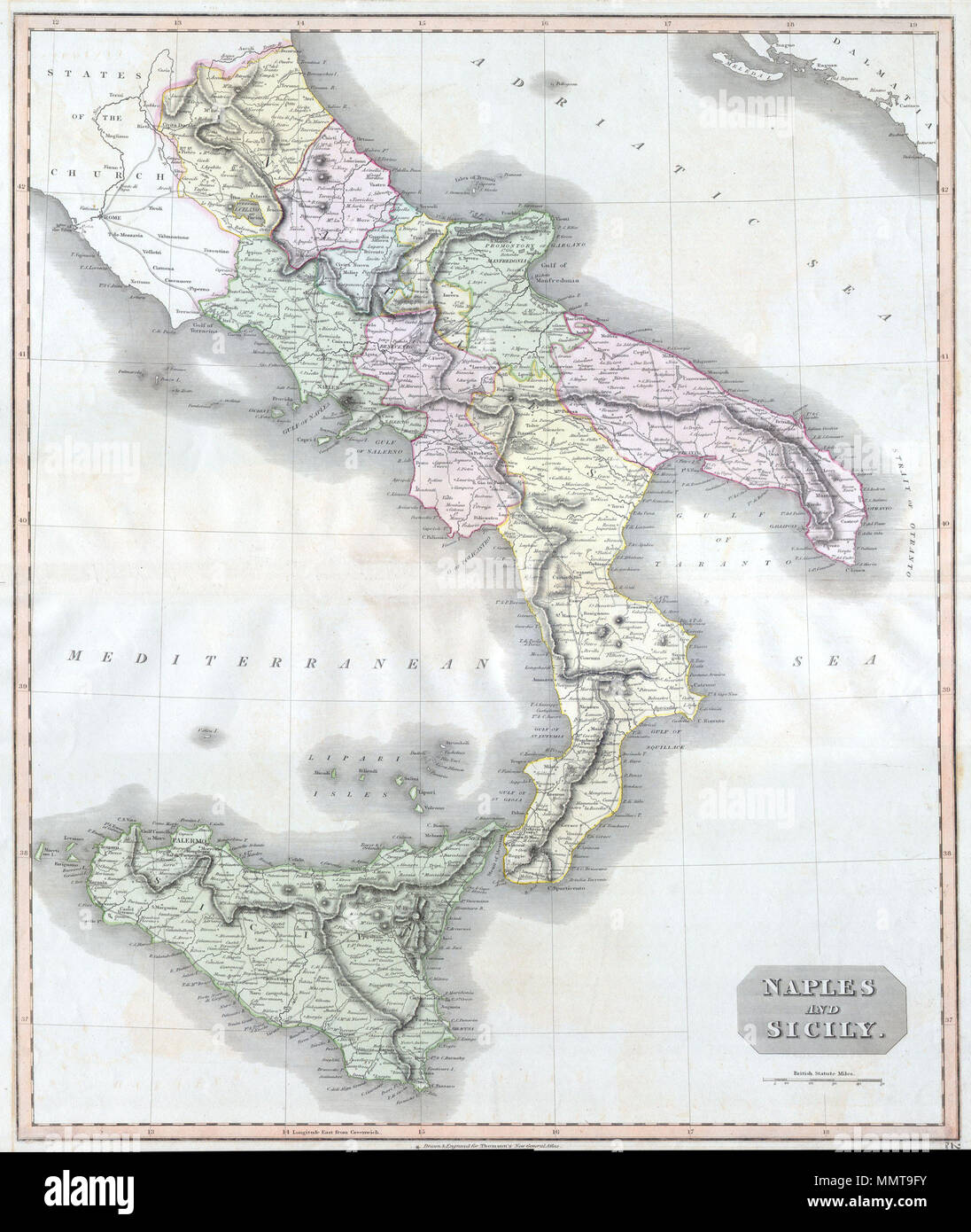 Picture of: English This Fascinating Hand Colored 1814 Map By Edinburgh Cartographer John Thomson Depicts Southern Italy Naples And Sicily Covers From Rome South To The Island Of Sicily Extraordinarily Details With
