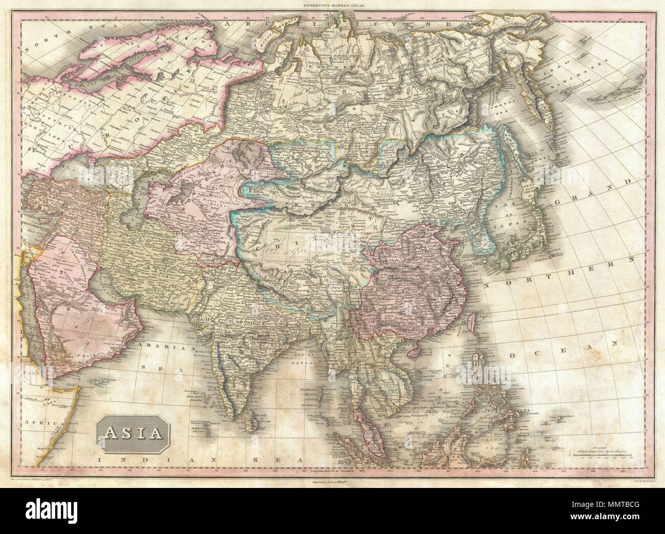 Map Of Asia Rivers And Seas.English This Is John Pinkerton S Stunning 1818 Map Of Asia Covers