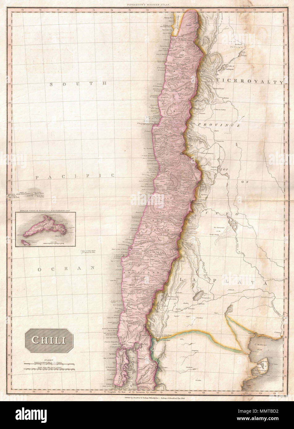 English: This is John Pinkerton's stunning 1818 map of Chile. Covers on