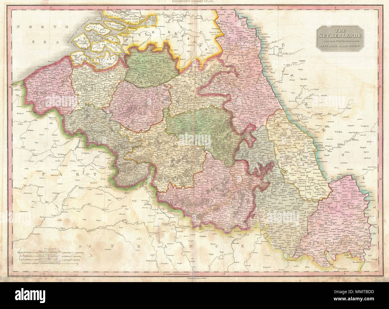 English: Pinkerton\'s extraordinary 1818 map of Belgium. Covers what ...