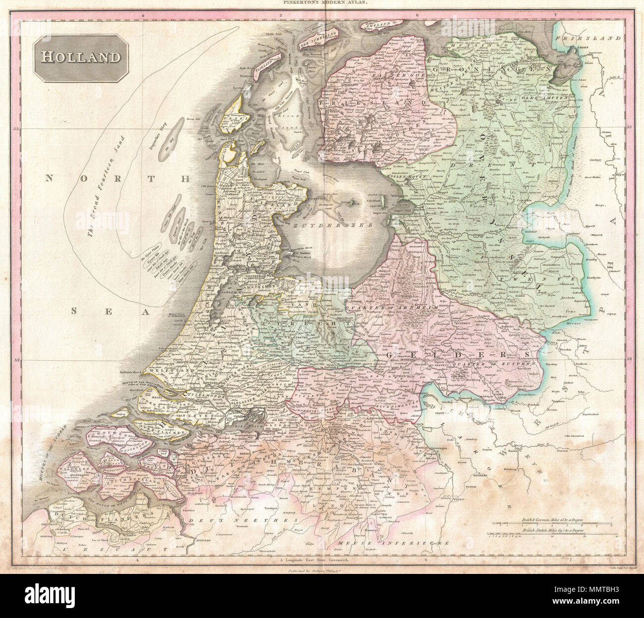 English: Pinkerton\'s extraordinary 1818 map of Holland ...
