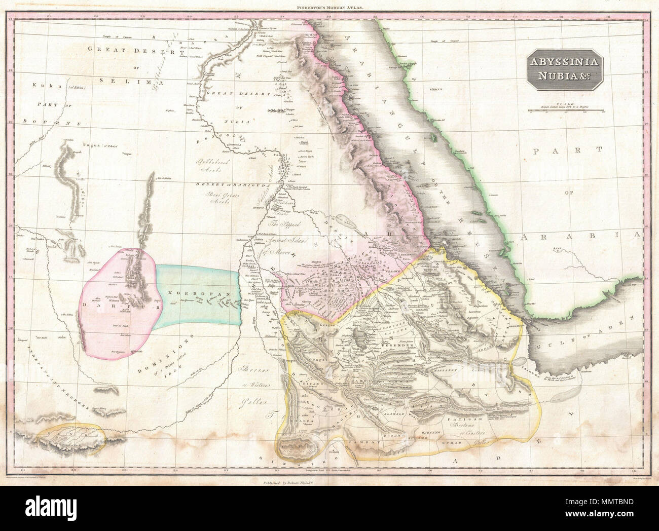 English: Pinkerton\'s extraordinary 1818 map of Nubia and Abyssinia ...