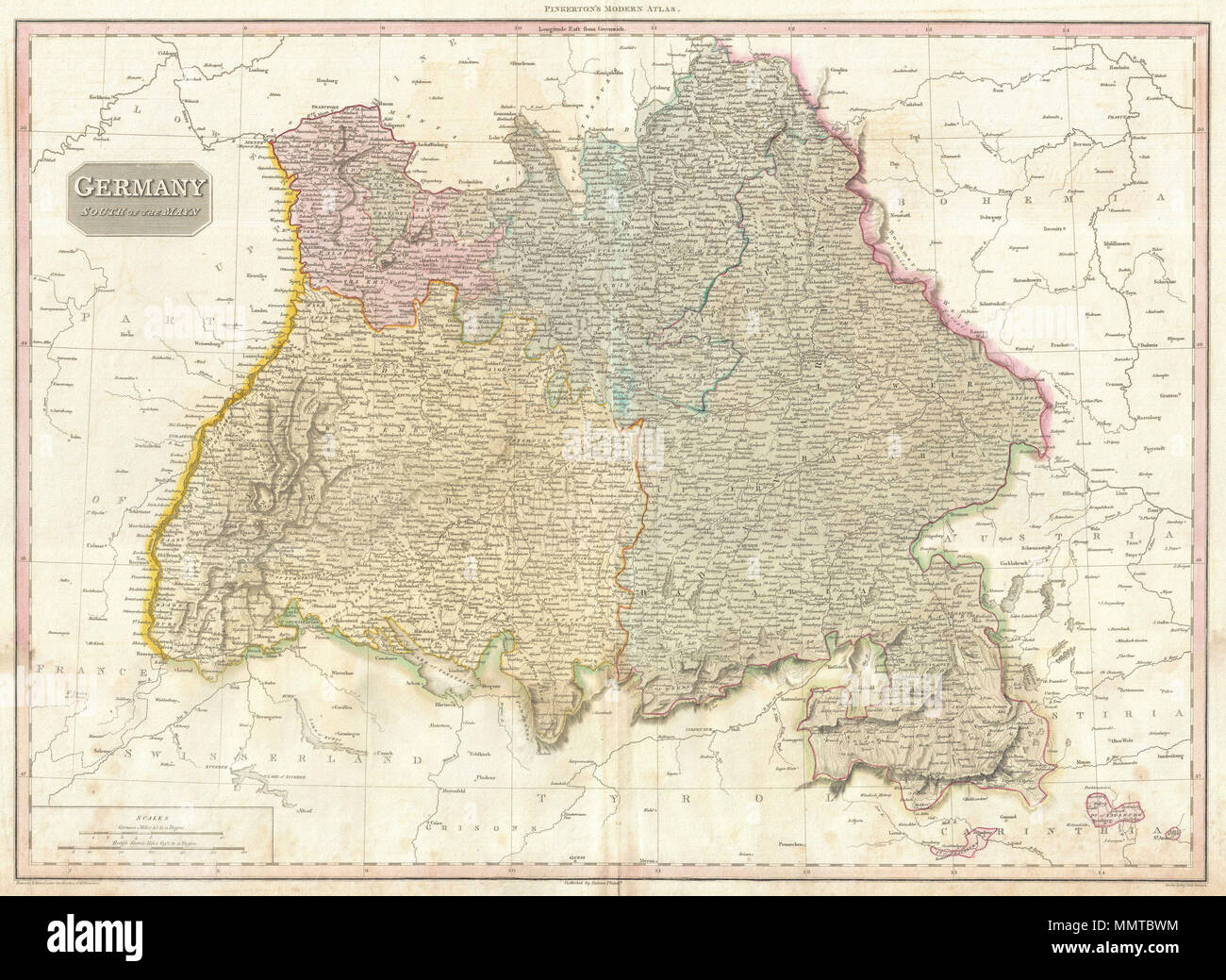 Map Of Germany With Cities And Towns In English.English Pinkerton S Extraordinary 1818 Map Of The Southwestern Part