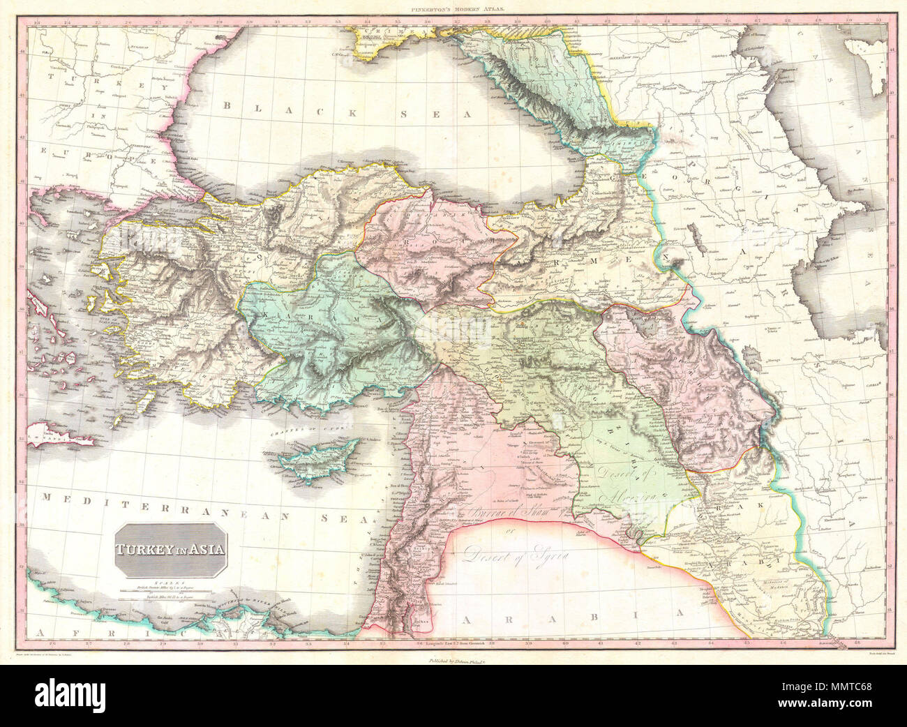 English This Is John Pinkerton S Stunning 1818 Map Of Turkey In Asia Covers The Holdings Of The Early 19th Century Ottoman Empire In Asia Inclusive Of Modern Day Turkey Iraq Cyprus
