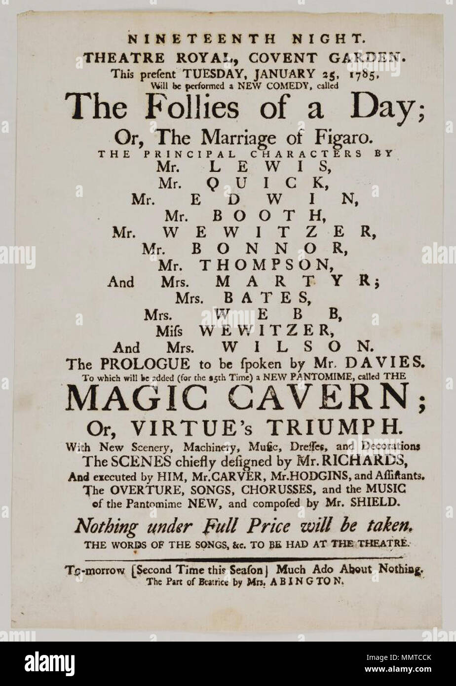 Playbill of Covent Garden, Tuesday, January 25, 1785, announcing The