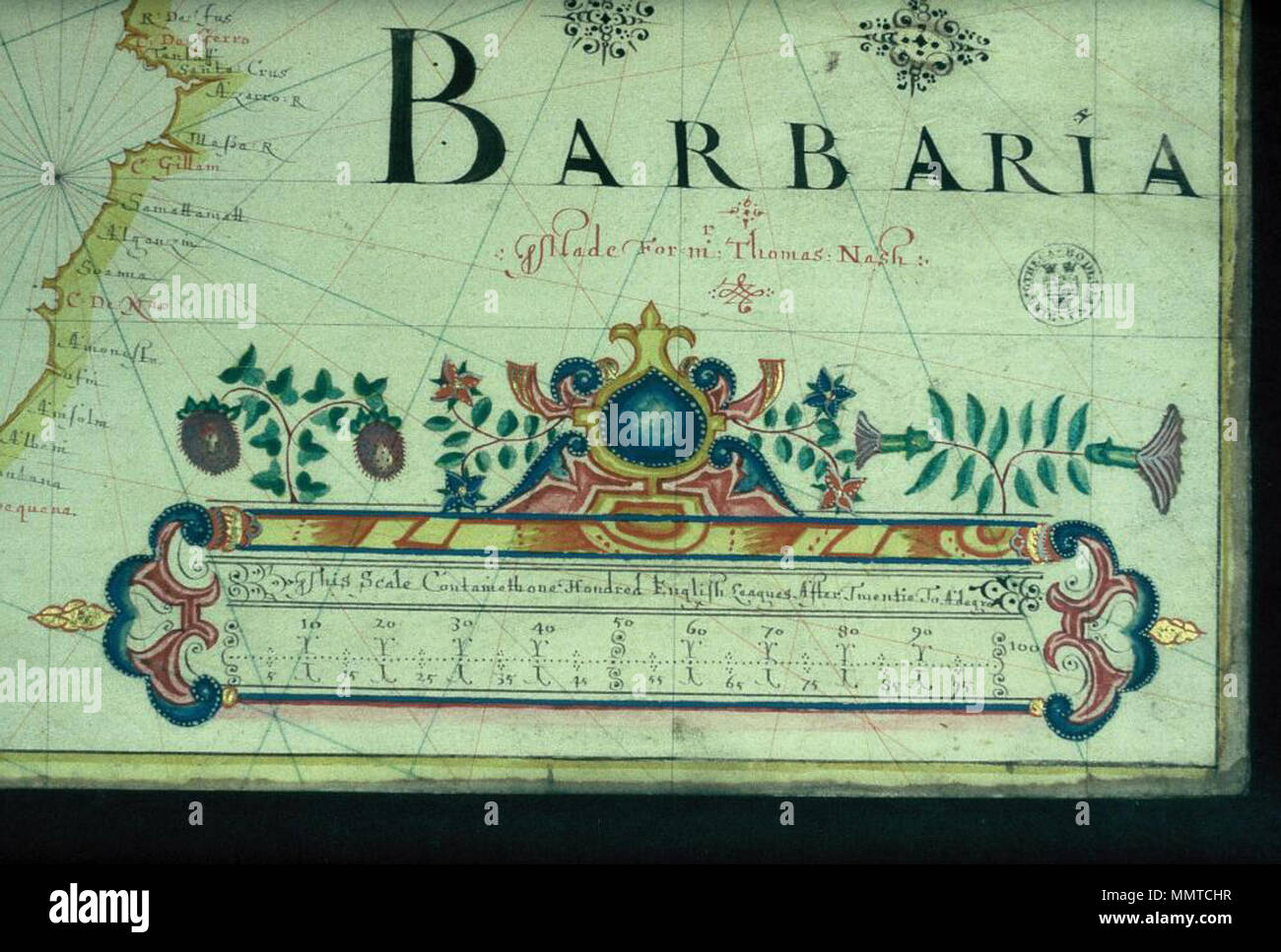 Decorated scale in close up from john burston s portolan chart