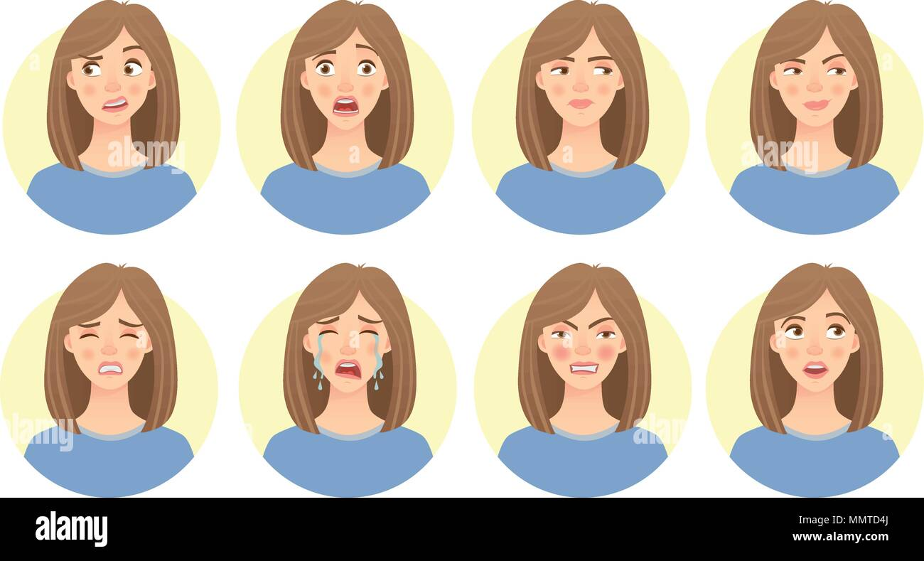 emotions of womans face set - Stock Vector