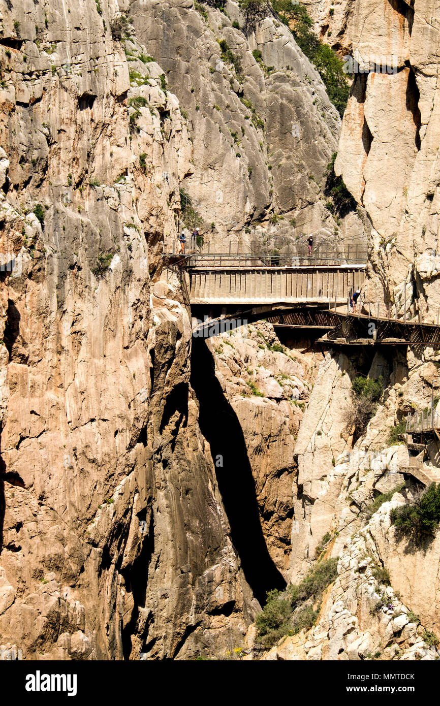 The bridge at the edge of the El Caminito del Rey trail hangs just above the original but now unsafe crossing,100 metres above the ground. - Stock Image