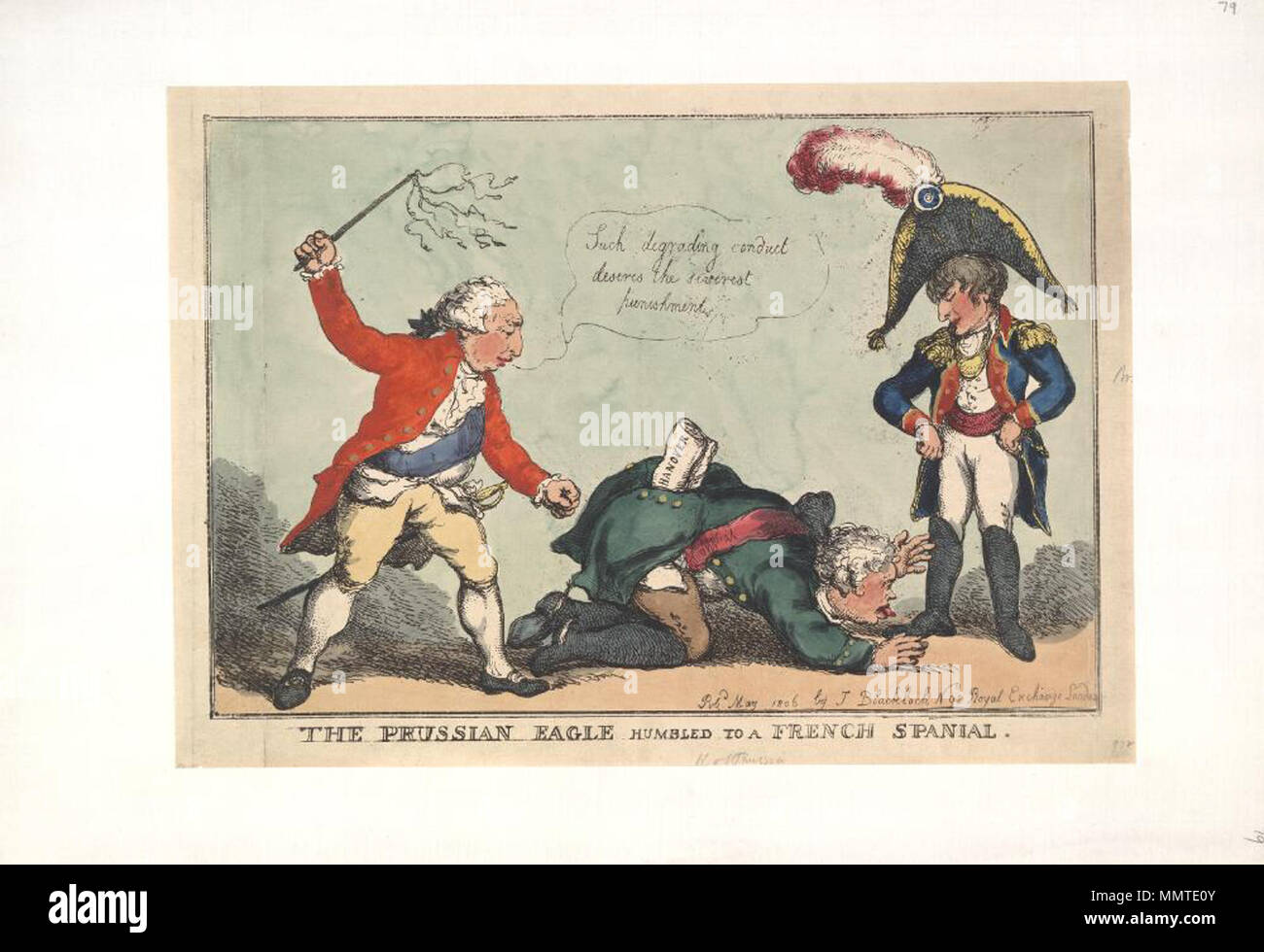 . Satire on the Napoleonic wars. (British political cartoon); Frederick William III, with the state of Hanover in his back pocket, kneels to lick the boots of Napoleon. George III prepares to flog the Prussian's backside in punishment.; Not in BMC  The Prussian eagle humbled to a French spanial. May 1806. Bodleian Libraries, The Prussian eagle humbled to a French spanial - Stock Image