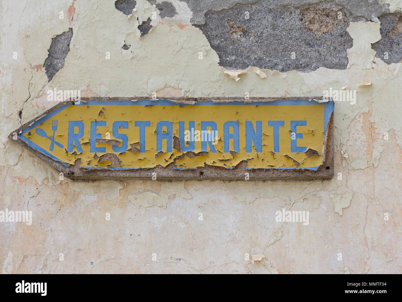 Restaurant sign in portuguese language Stock Photo