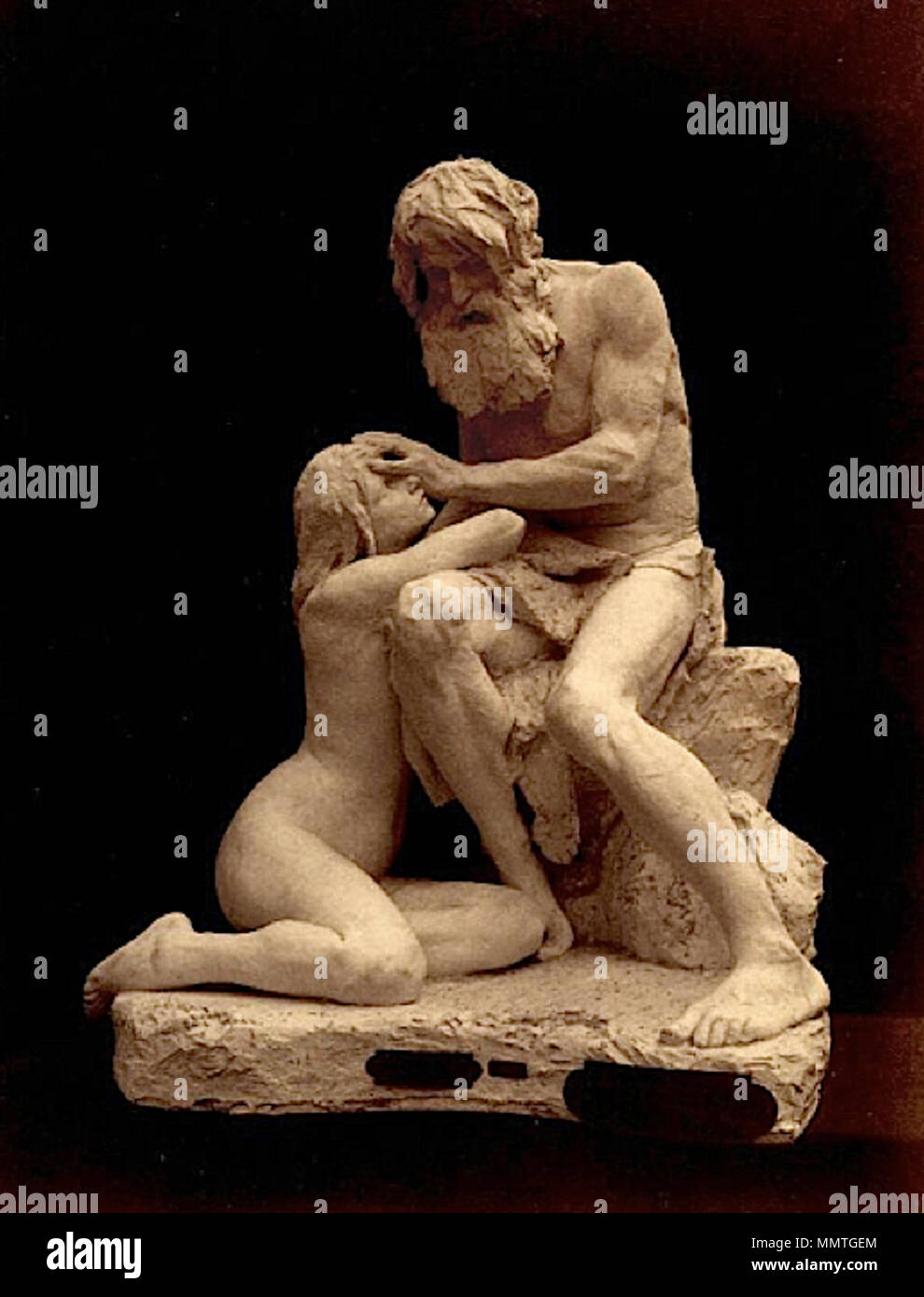 . English: Phography of the plaster of Cain of Eugène-Jean Boverie — from the album of the Salon des artistes français (Paris). Boverie Cain plaster - Stock Image