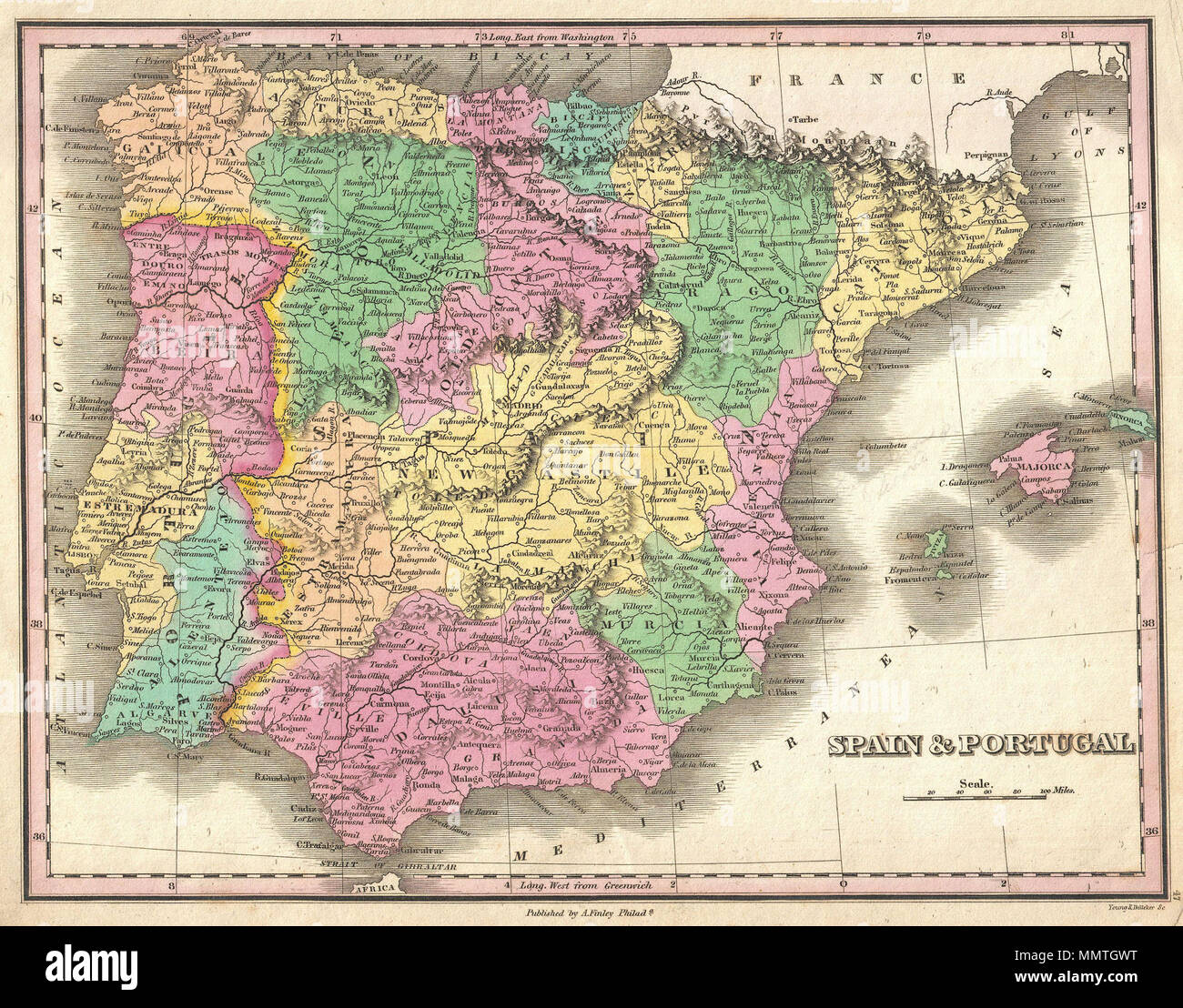 Map Of Spain With Mountains.English A Beautiful Example Of Finley S 1827 Map Of Spain And