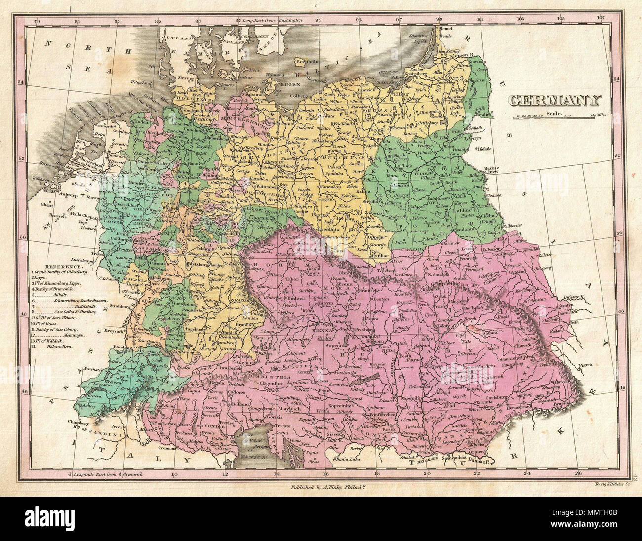 Map Of Germany With Cities In English.Finley Map Of Germany Stock Photos Finley Map Of Germany Stock