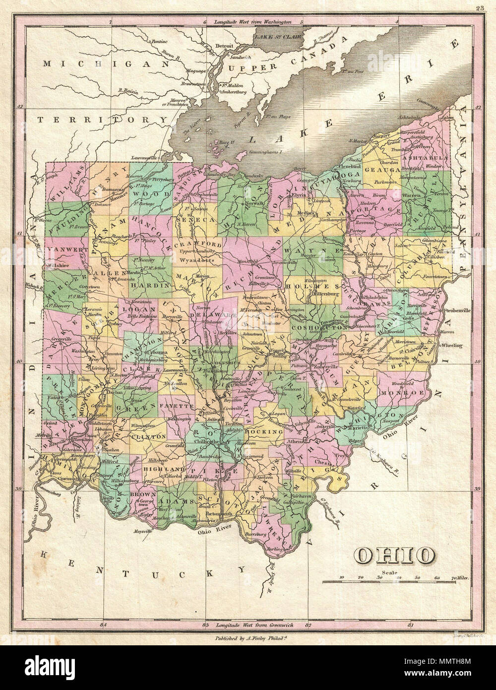 English A Beautiful Example Of Finleys Important Map Of Ohio - Lake erie topographic map