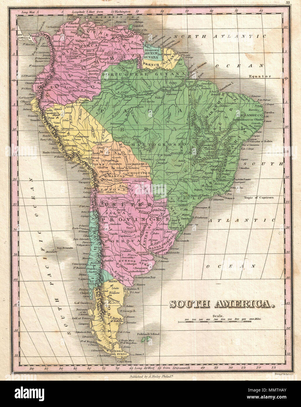 Cape Horn On South America Map.English A Beautiful Example Of Finley S 1827 Map Of South America