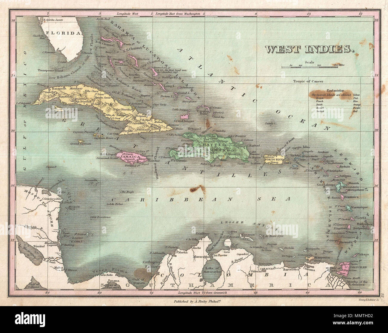 .  English: This is Finley's desirable 1827 map of the West Indies and Caribbean. Shows the Greater and LEsser Antilles as well as the Bahamas and portions of the Spanish Main. Islands are color coded according to their European claimants. Shows cities, forts, bays, rivers, roads, and some topographical features. It the Bahamas, Finley identifies Guanaham or Cat Isle, the first land in the America to be sighted by Columbus. Mile scales and title in upper right quadrant. Engraved by Young and Delleker for the 1827 edition of Anthony Finley's General Atlas .  West Indies.. 1827 (undated). 1827 F Stock Photo