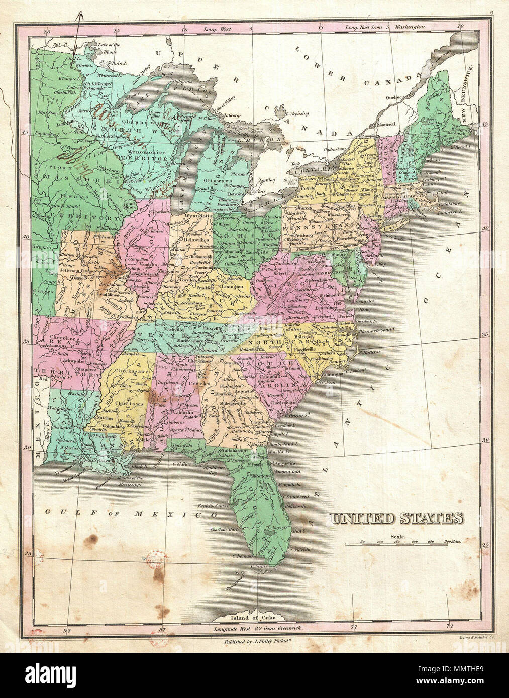 English: This is Finley\'s desirable 1827 map of the United ...
