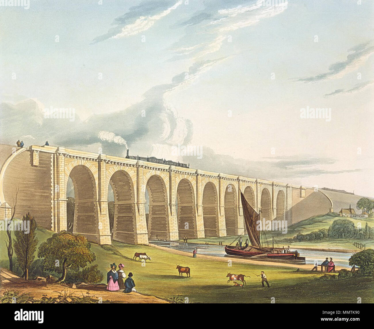.  English: The Sankey Viaduct where the Liverpool and Manchester Railway crosses the Sankey Canal at a height of 70 ft (21.3 m), allowing sailing craft called Mersey Flats to pass underneath.  Viaduct across the Sankey Valley. 1831. Viaduct across the Sankey Valley, from Bury's Liverpool and Manchester Railway, 1831 - artfinder 122455 Stock Photo