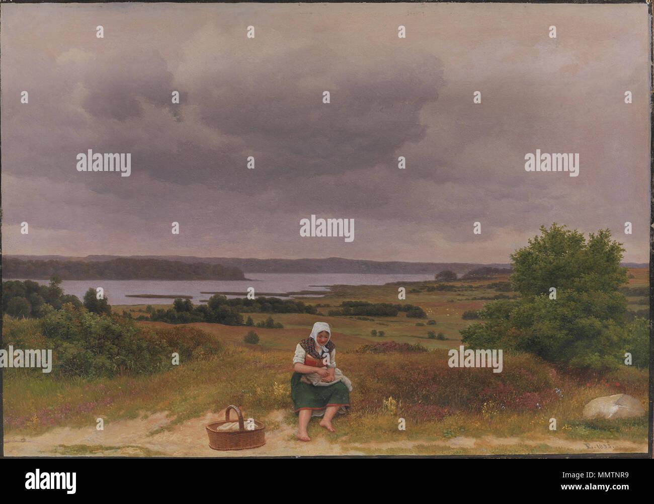 .  Dansk: C.W. Eckersberg (1783-1853), Udsigt fra Kongevejen over Furesoeen i naerheden af Rudersdal, 1833. KMS4794  C.W. Eckersberg (1783-1853), Udsigt fra Kongevejen over Furesoeen i naerheden af Rudersdal, 1833 C.W. Eckersberg - View of Lake Fure near Rudersdal - North Sealand - kms4794 - Stock Image