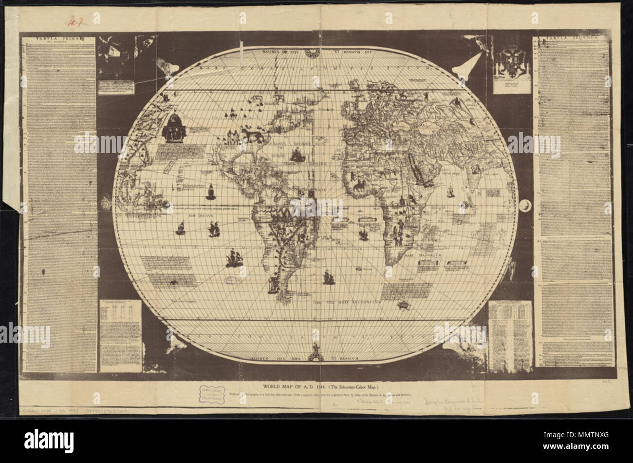 English: Sebastian Cabot's world map . 1544. Sebastian Cabot (c. 1484 –  1557) Cabot world map