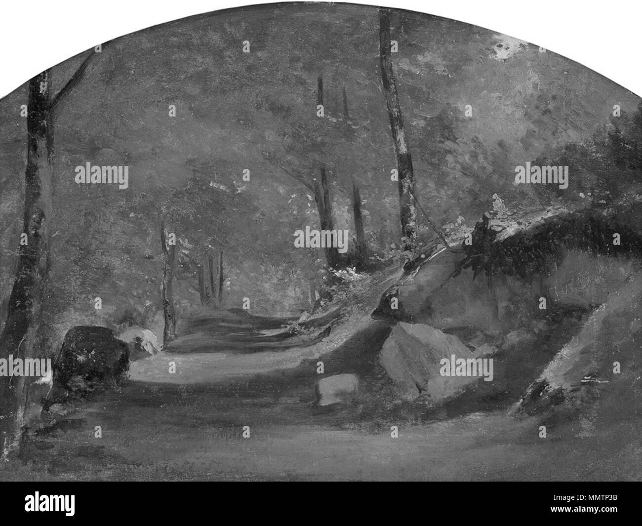 English Painting Of Calame In Greyscale To Illustrate The Quality Contrast Original Painting In Thumbnail Calame Waldweg 19th Century Original Paintings Changed Into Greyscale By Uploader Calame Waldweg In Greyscale