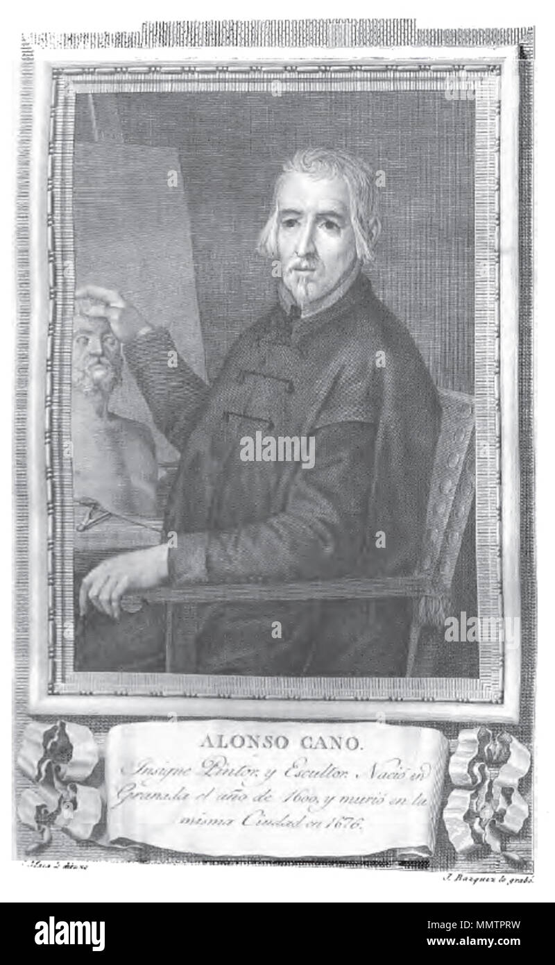 . Retrato de Alonso Cano.  . 1796. José Vázquez (grabado), José Maea (dibujo) Alonso Cano - Stock Image