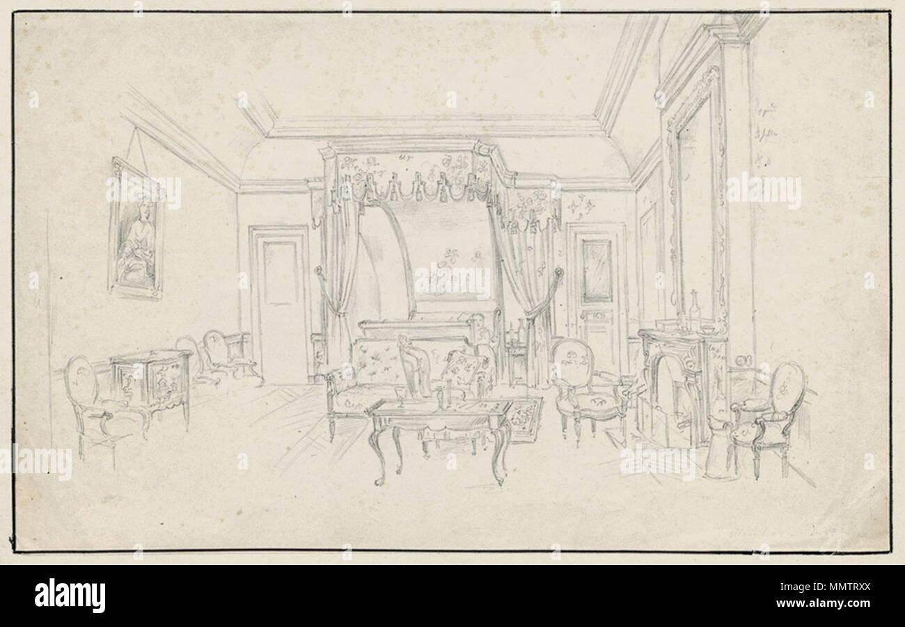 . Blick In Ein Barockes Schlafzimmer. Bleistift Auf Velin. 21,1 X 33,9 Cm.  Unten Rechts Unleserlich Bez. U0027Mannhe.. D. 18...u0027. . By 1884.