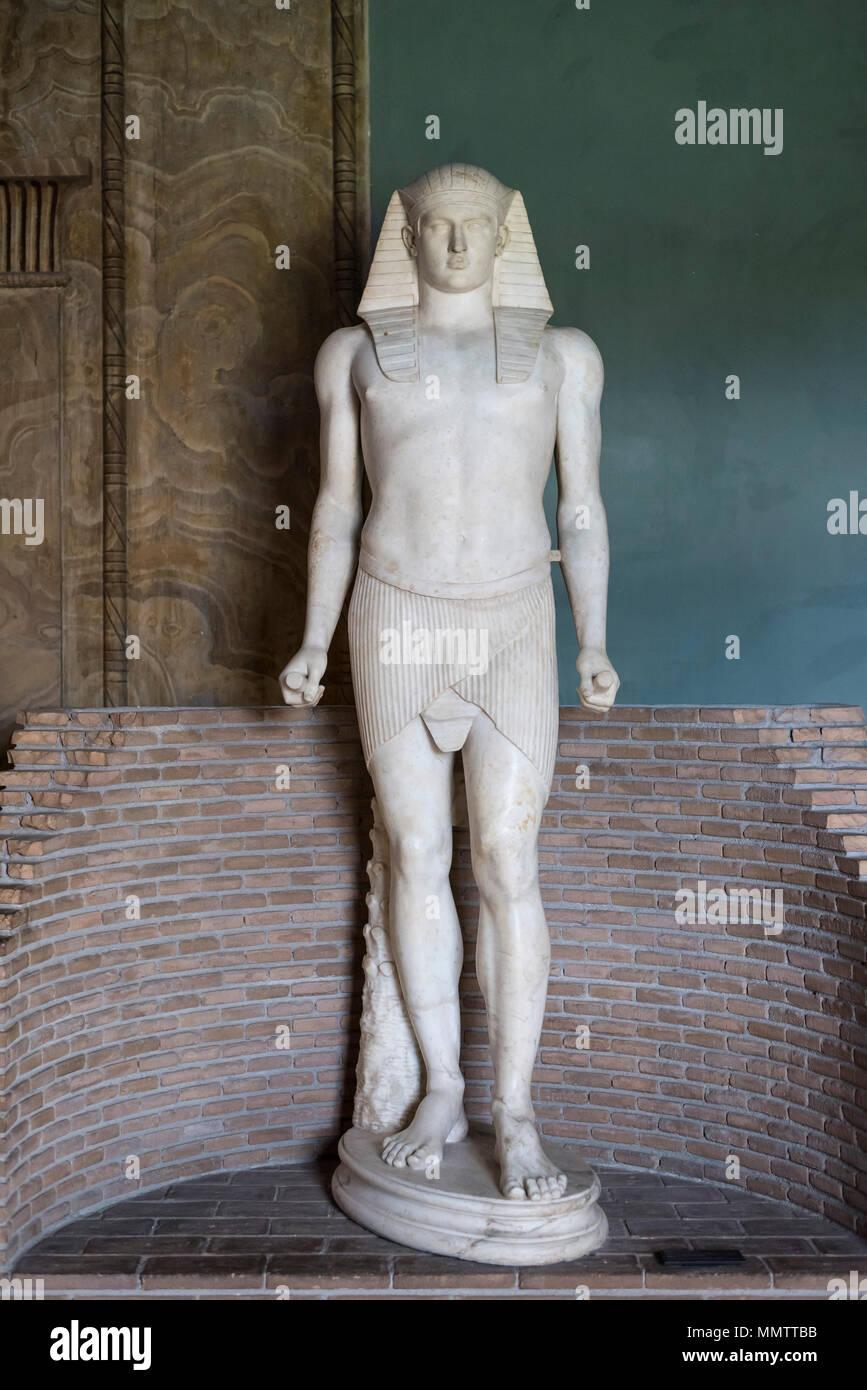 Rome. Italy. Statue of Osiris-Antinous, from Tivoli, Villa Adrinana (Hadrian's Villa). Imperial Roman Period, end of reign of Hadrian (131-138 AD), Mu - Stock Image