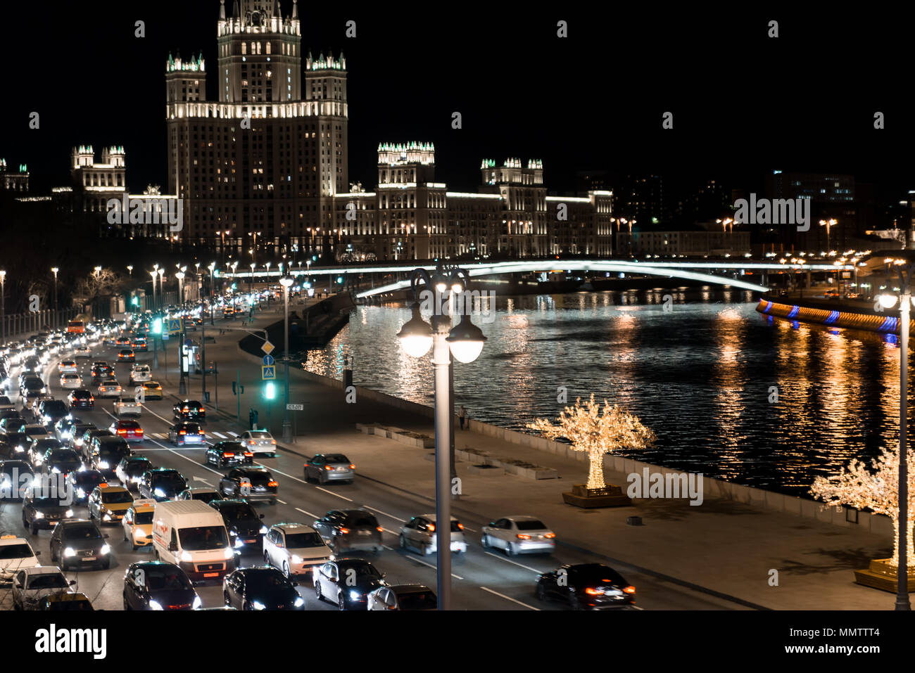 Moscow. Russia. Traffic jam in the center of the metropolis. - Stock Image