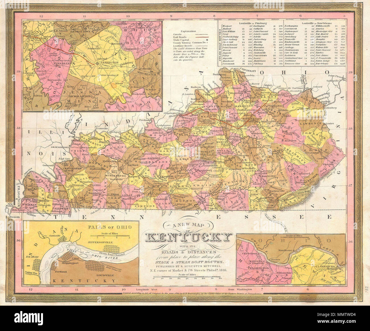 Falls Of The Ohio Map.English This Scarce Hand Colored Map Is A Lithographic Engraving Of