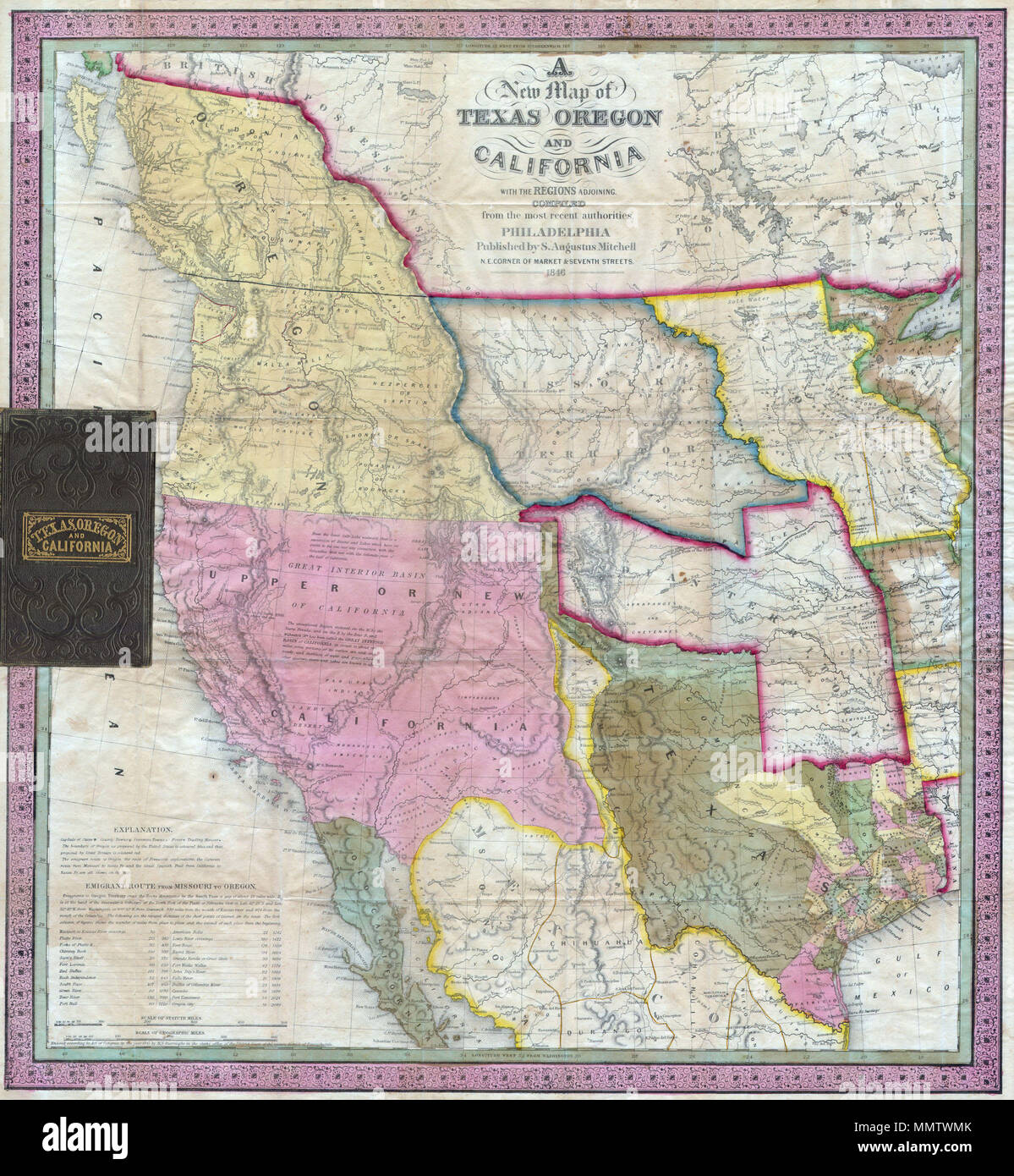Map Of Texas New Mexico And Colorado.English A Stunning Example Of Mitchell S Seminal 1846 Pocket Map Of