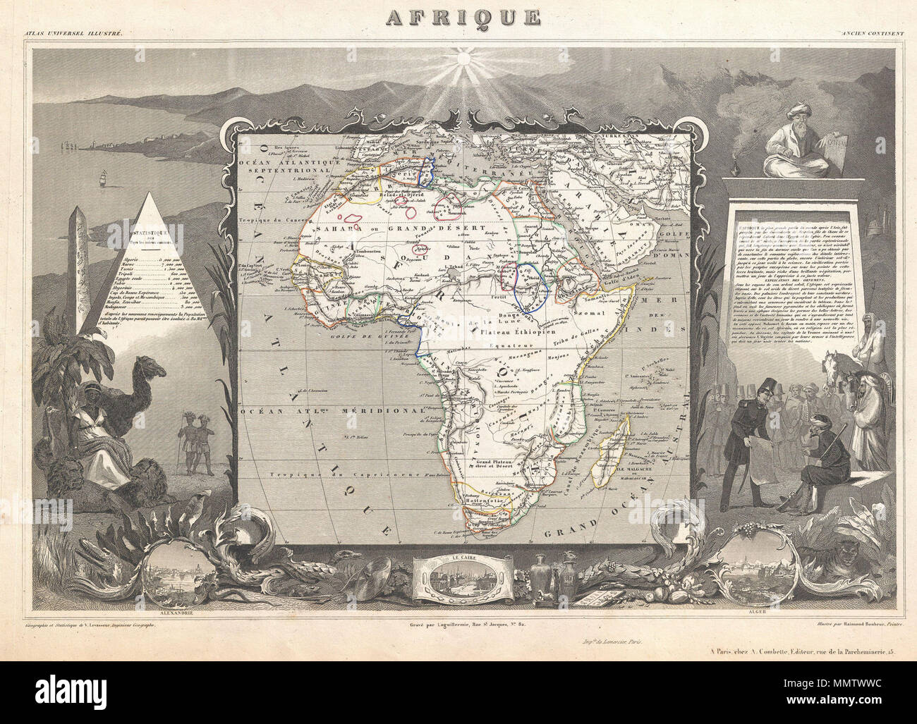 .  English: A stunning c. 1847 map of Africa by French cartographer Victor Levasseur. Depicts the entire continent with several interesting elements. A large lake appears in Mozambique which can only be Lake Malawi (Lake Nyasa). Lake Chad (Tchad) is also shown. Names numerous African kingdoms including Monomotapa and the Hottentots. Surrounded by the elaborate borders for which Levasseur is best known. Shows a stylized pyramid and obelisk, an imam, a French soldier consulting with Arabs, and three city vies: Alexandria, Cairo and Algiers. Prepared and published for V. Levasseur's magnificent c - Stock Image