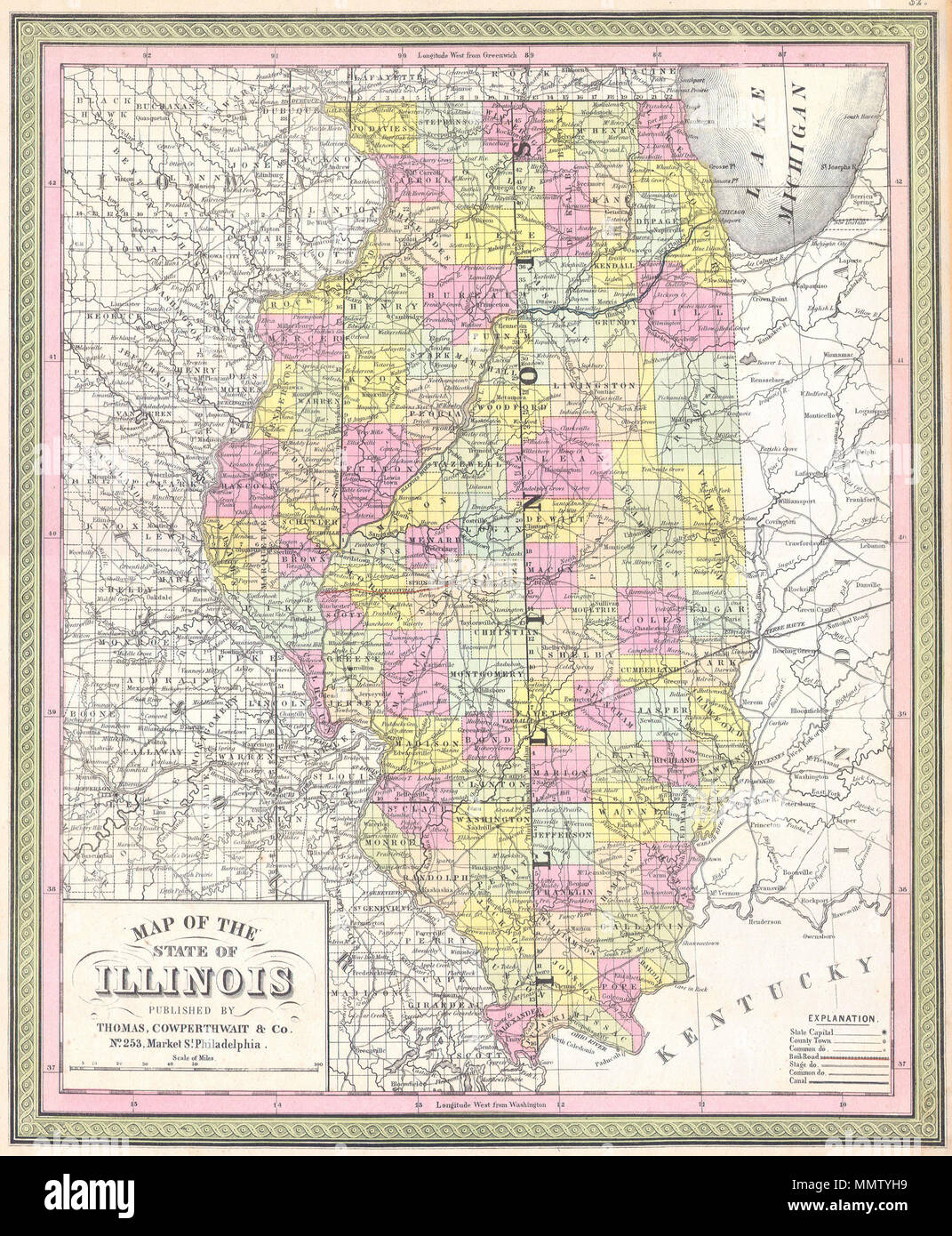 English: This is beautiful hand colored map is a ... on