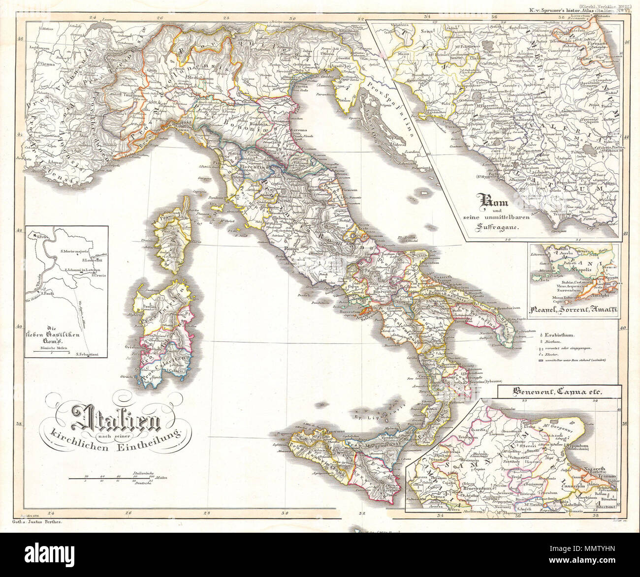 English This Fascinating Hand Colored Map Depicts Italy And