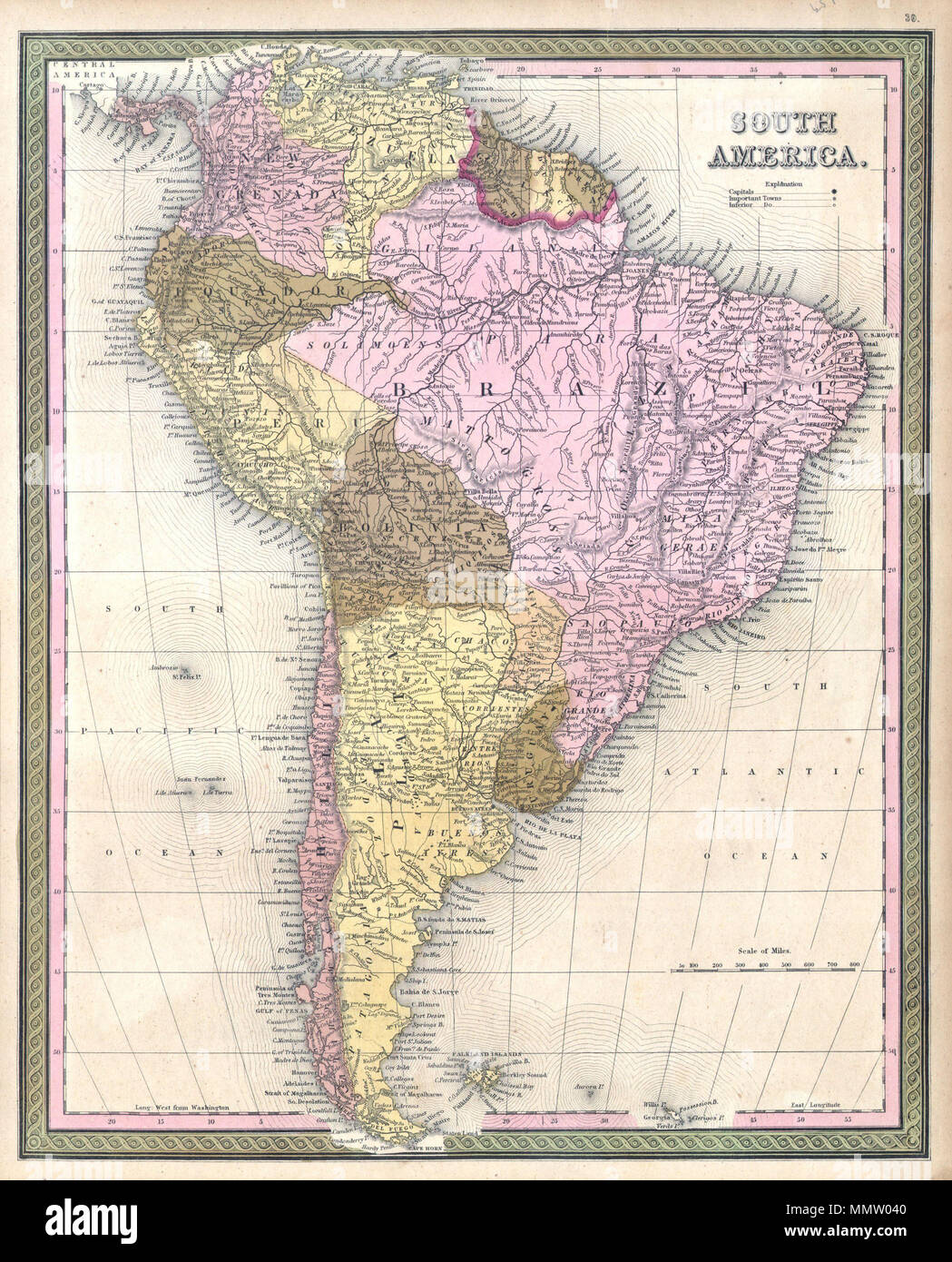 Central And South America Map Stock Photos & Central And South ...